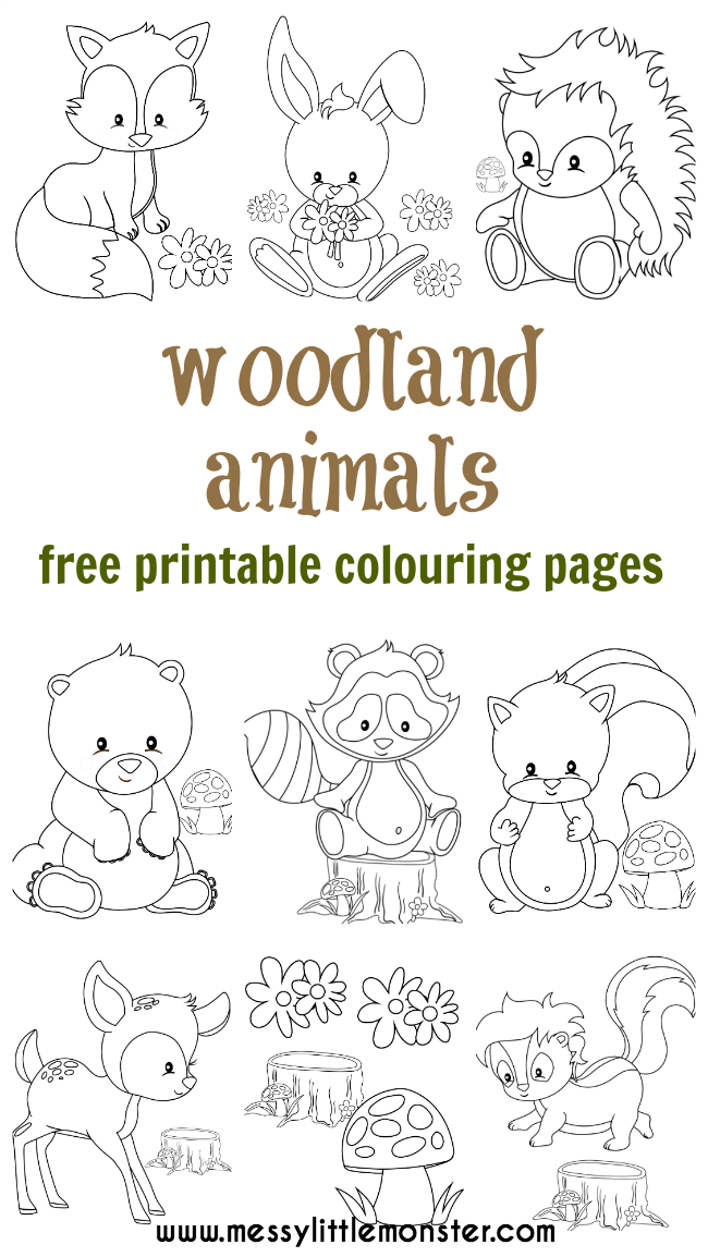 photo regarding Free Printable Woodland Animal Templates called Woodland Animal Colouring Webpages - Messy Very little Monster