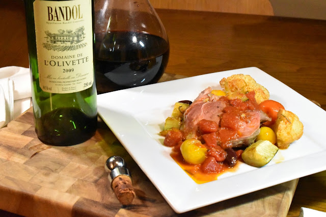 Domaine de L'Olivette Bandol with Herb Roasted Leg of Lamb and Saucy Mediterranean Veggies.