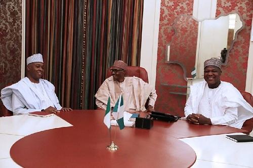 Buhari In Closed Door Meeting With Saraki, Dogara