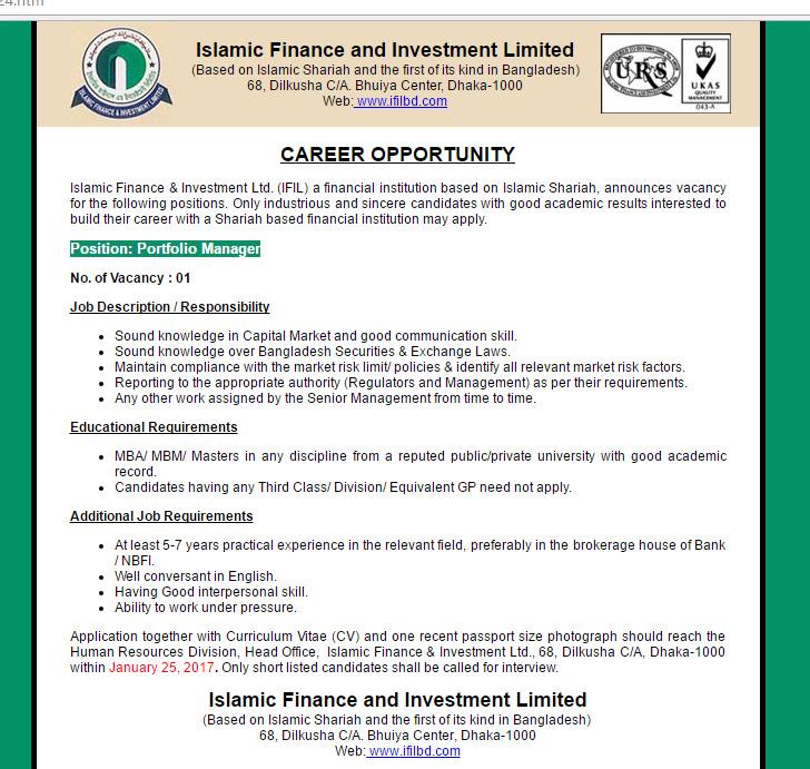 Islamic Finance & Investment Ltd. (IFIL) - Post: Portfolio Manager ...