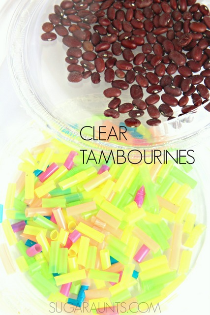 Clear tambourines for music and baby sensory play
