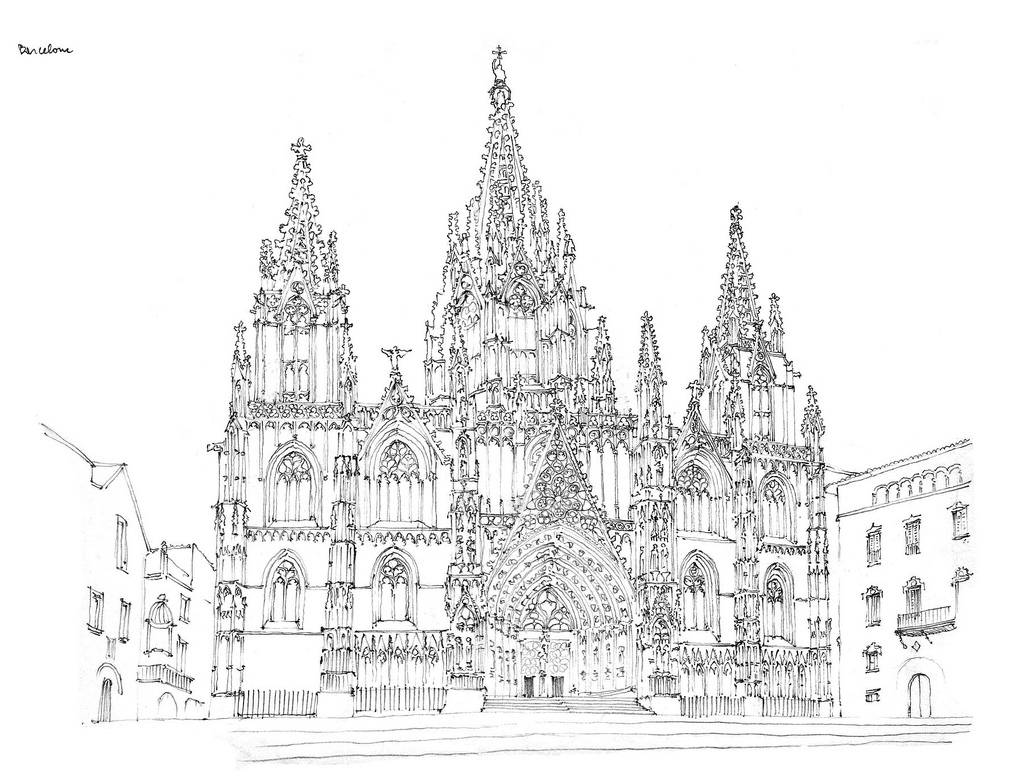 10-Barcelone-cathédrale-Gérard-Michel-Urban-Architectural-Drawings-from-your-Teacher-www-designstack-co