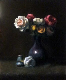 Oil painting of white, yellow and red roses in a blue vase, with a smaller vase and white rose below.
