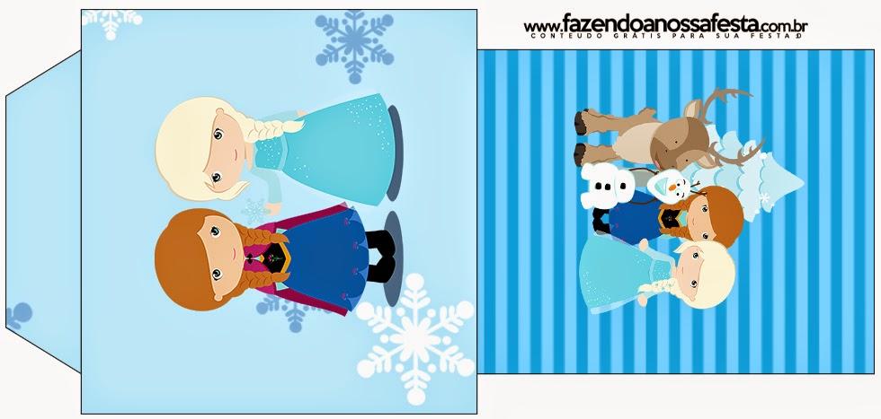Bolsita de Té para imprimir gratis de Frozen Niñas para Navidad Azul.