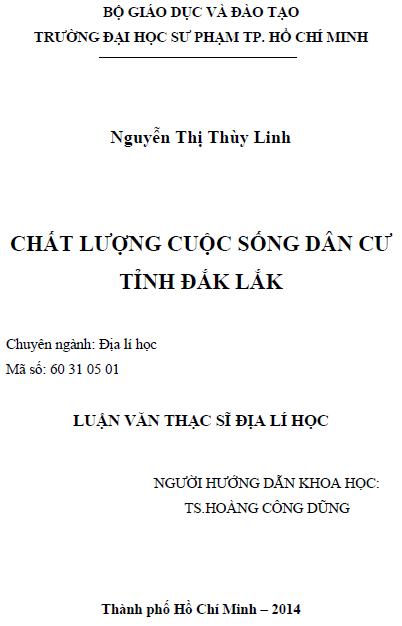 Chất lượng cuộc sống của dân cư tỉnh Đắk Lắk