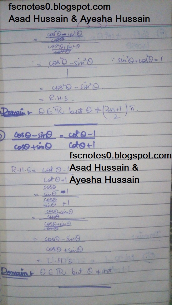 FSc ICS FA Notes Math Part 1 Chapter 9 Fundamentals of Trigonometry Exercise 9.4 Question 6 - 10 by Asad Hussain & Ayesha Hussain 1