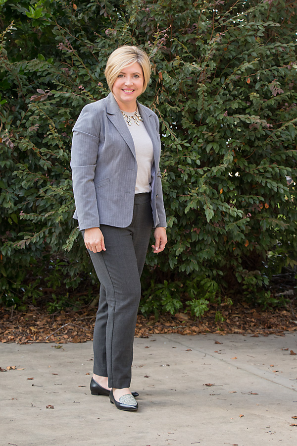 shades of grey, office outfit, loafers outfit