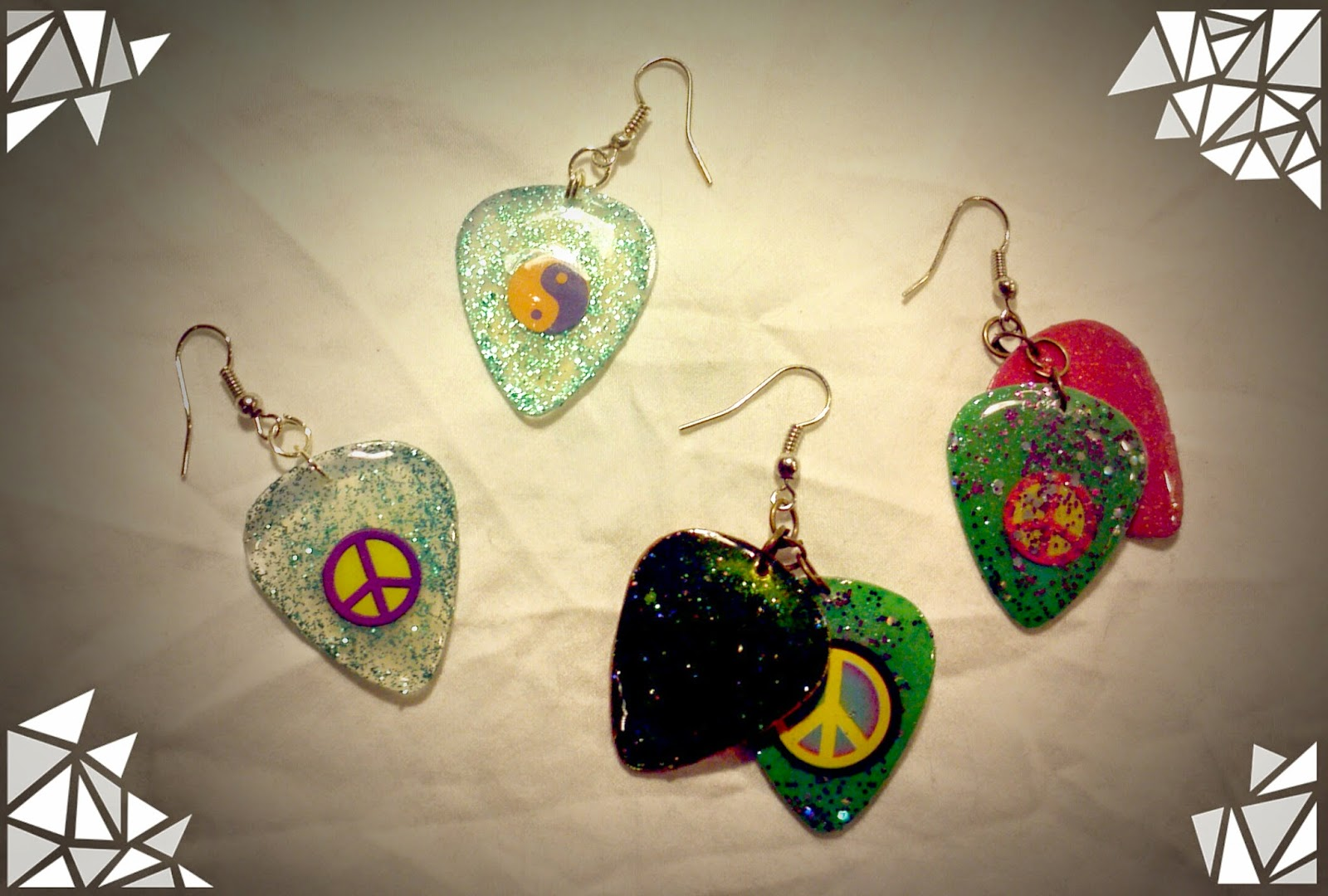Peace sign guitar pick earrings