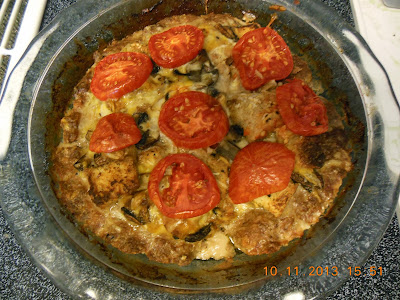 Hamburger Pie, with mushrooms, tomatoes, and cheese.