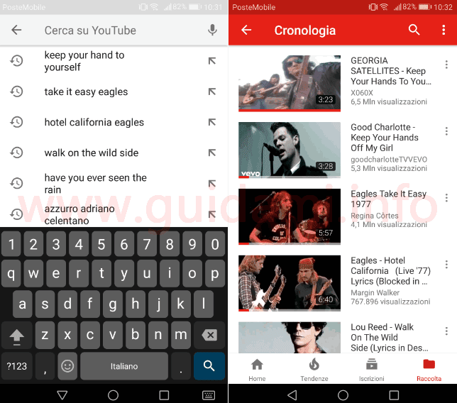 App YouTube cronologia video visti e cercati