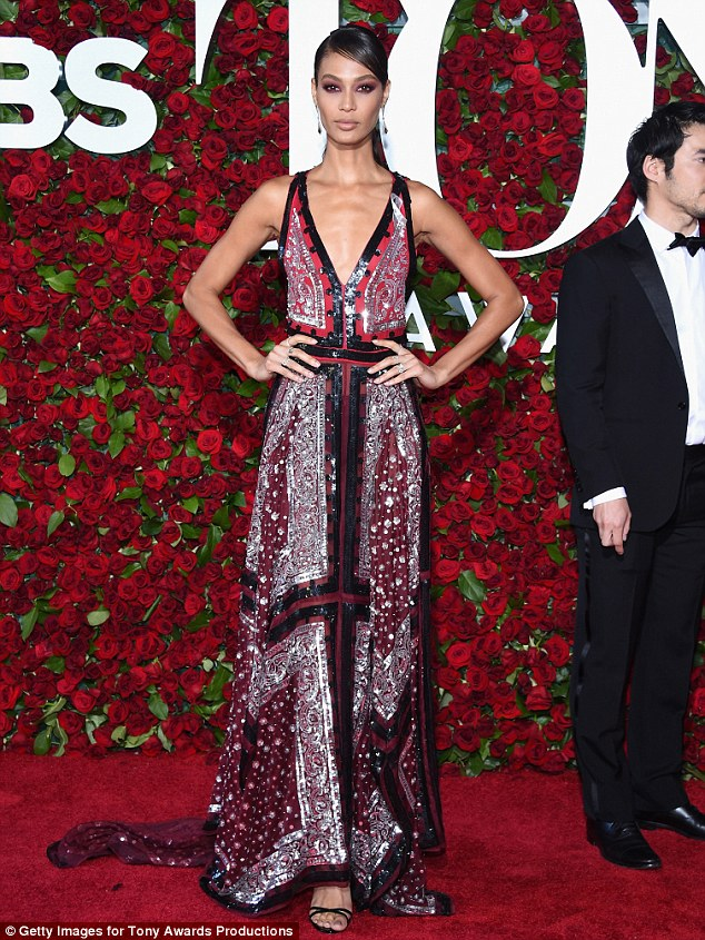 Joan Smalls wears low-cut embellished gown to the 2016 Tony Awards in NY