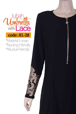 Jubah Umbrella Lace JEL-28 Black Depan 6
