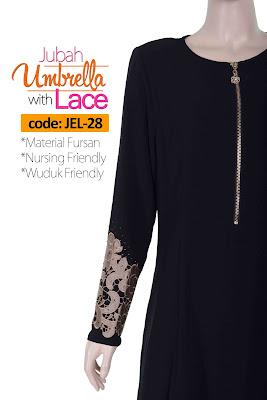 Jubah Umbrella Lace JEL-28 Black Depan 6