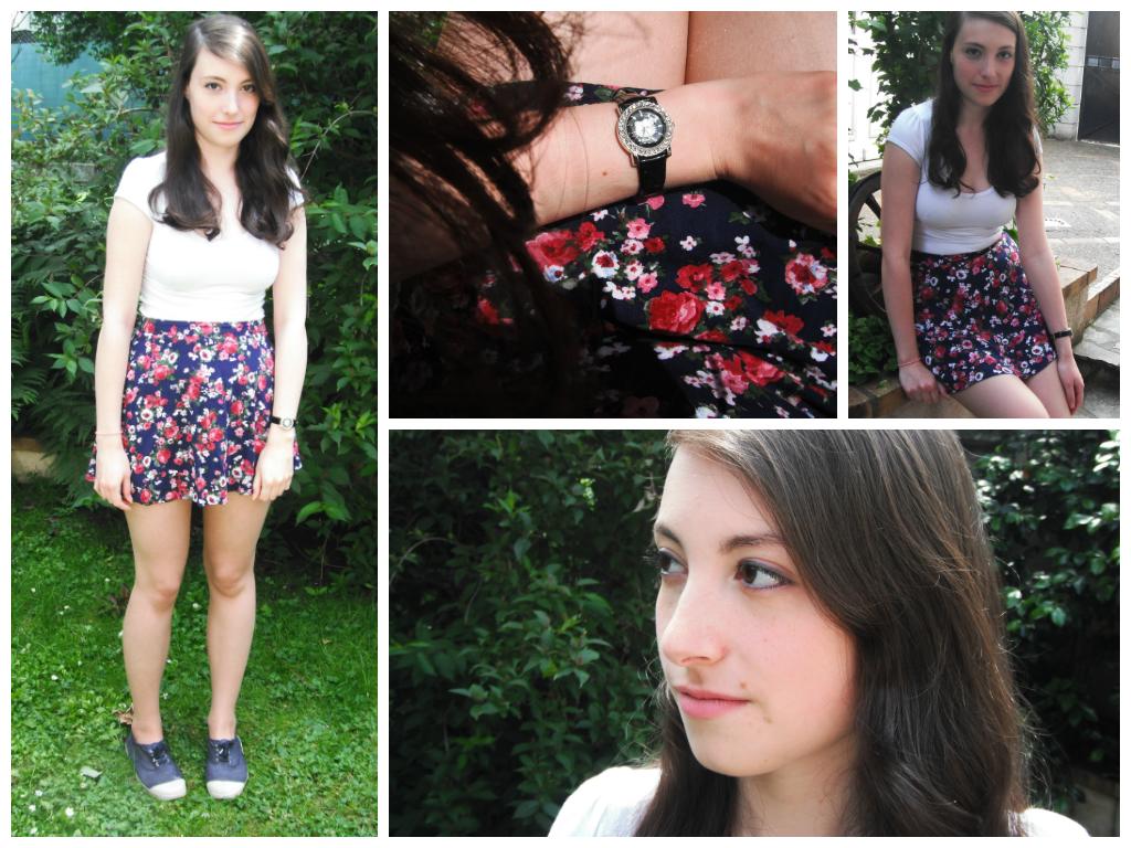 Lookbook été 2014 tenue 3 : jupe à fleurs, haut blanc et bensimon