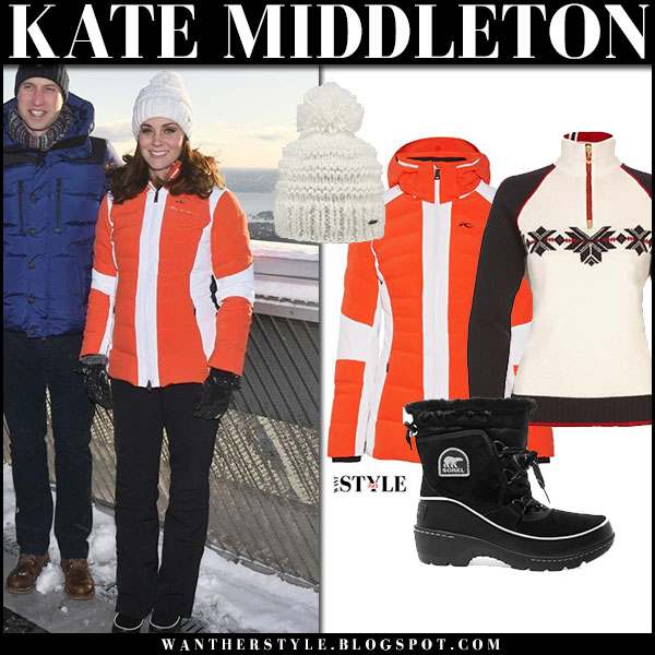Kate Middleton in orange puffer kjus jacket, black snow boots and white beanie winter snow fashion royal family february 2