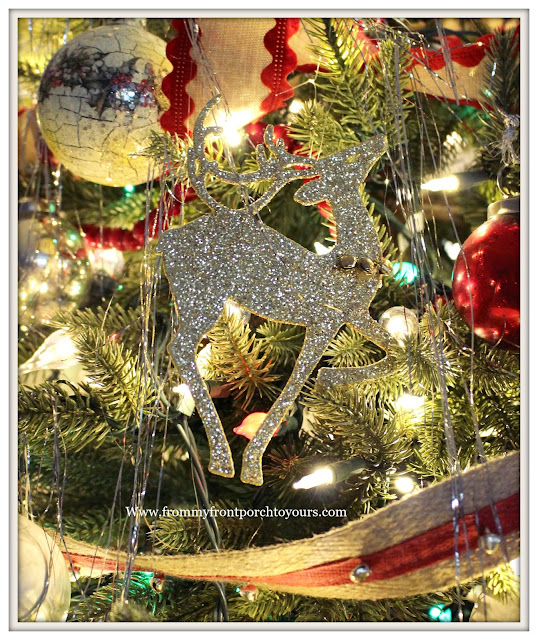 Vintage Inspired Farmhouse Christmas Tree-Dollar Store Deer Ornament- From My Front Porch To Yours