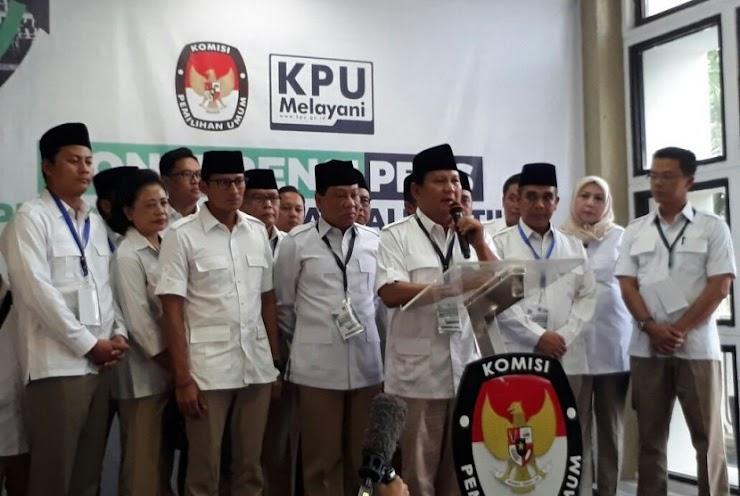 Hadir di KPU, Prabowo Daftarkan Gerindra Jadi Peserta Pemilu 2019