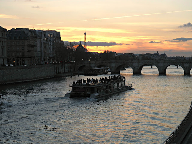 seine and eiffel tower at sunset