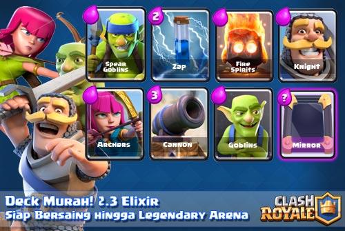 Kombinasi kartu deck murah arena 5 6 7 8 9 Clash Royale