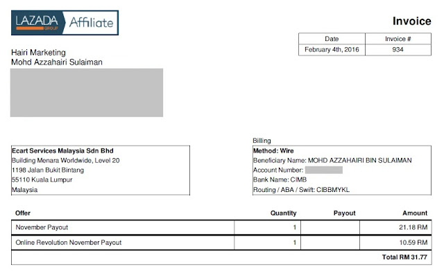 contoh invoice komisen lazada