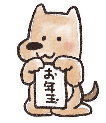 お年玉を持った犬のイラスト(戌年)