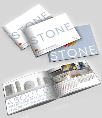 İçinde taş resimleri olan uzunlamasına hazırlanmış bir katalog