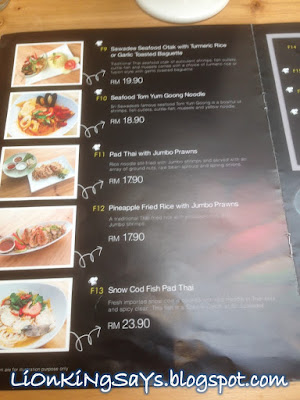 Sri Thai Cafe Menu