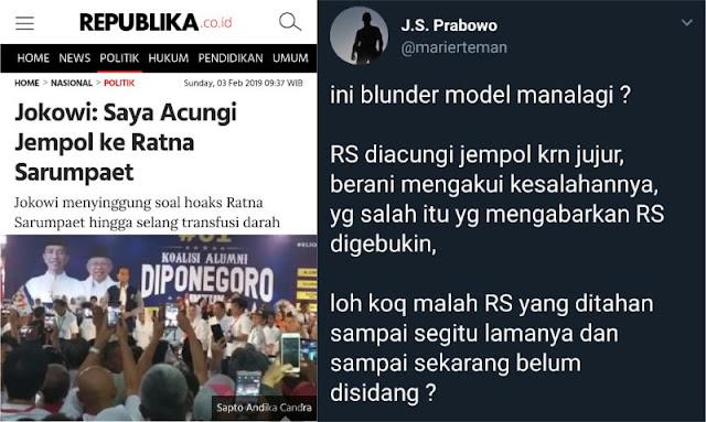 Jokowi Puji Ratna Sarumpaet, Ini Tanggapan Suryo Prabowo
