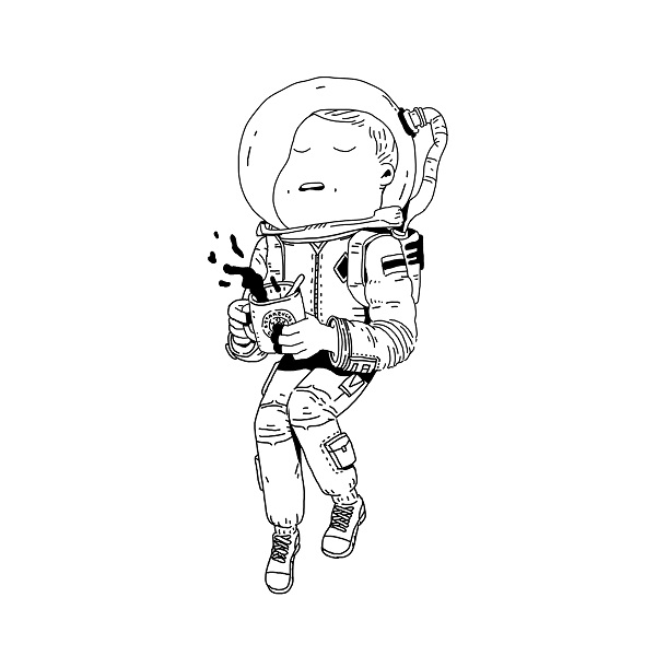 por Ilya Kasakov | astronaut creative illustration black and white drawings, cool stuff, pictures | ilustraciones imaginativas, imagenes graciosas, chistosas, blanco y negro