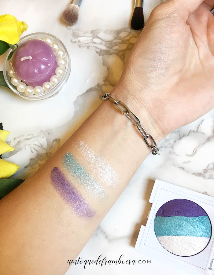 Swatches das sombras do trio baked Electric Sping da Mary Kay at Play