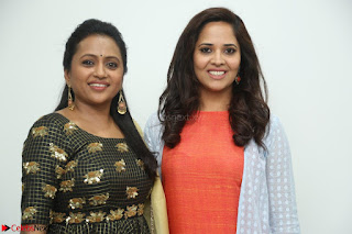 Actress Suma in Black Salwar Suit and Anusuya in orange Dress at winner movie press meet part 1 February 2017 (24).JPG