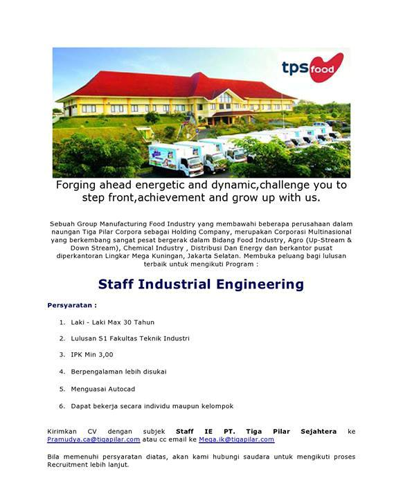 Lowongan Kerja Jakarta Selatan Staff Sipil dan Staff Industrial Engineering