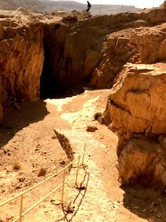 Person walking on siege ramp at Masada Israel