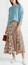 brown, tan and blue polkadot print midi skirt from Theory with blue sweater from Netaporter.com
