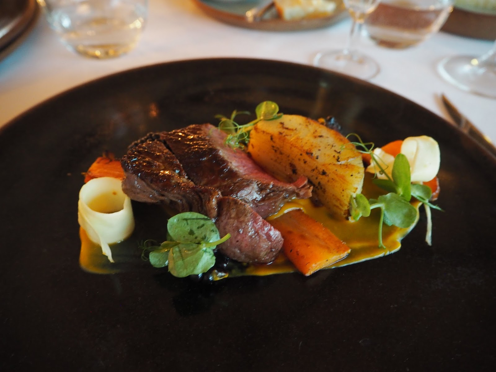 Beef in treacle The Courtyard Restaurant, Ox Pasture Hall Country Hotel, Scarborough, Yorkshire, romantic hotel near beach in Scarborough