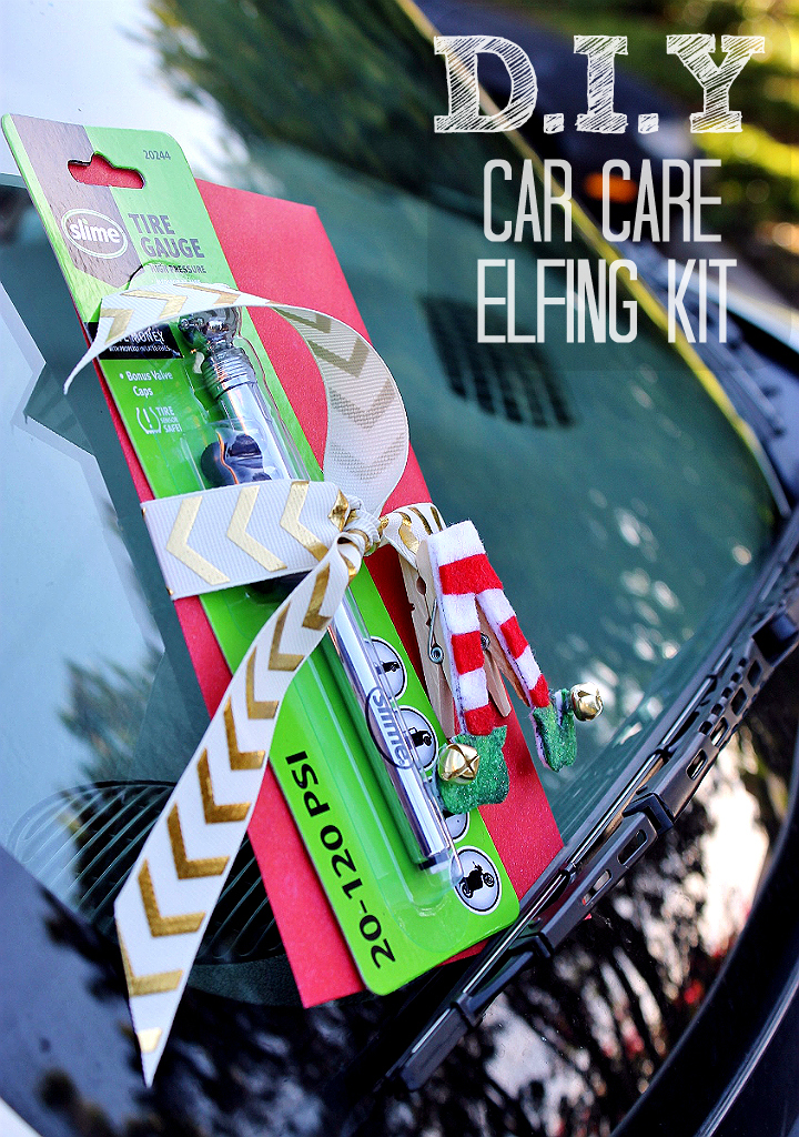 DIY Car Elfing Kit- Spread cheer and help refresh a stranger's car during one of the most hectic seasons of the year! DIY Trapped Air Vent Elf Air Freshener Tutorial inside! #FallForPennzoil AD