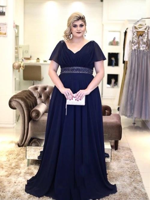 Vestido festa azul royal plus size