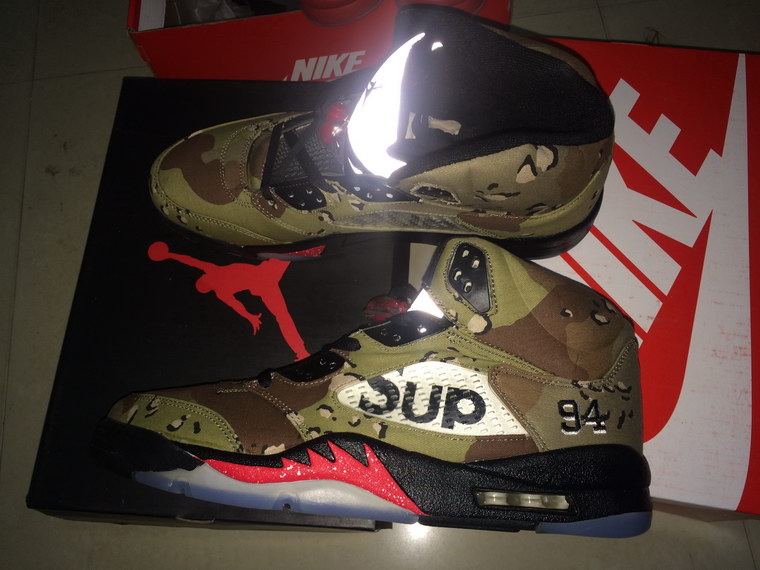 official photos c3b49 16a54 More Real Photos For Nike Air Jordan 5 Supreme Desert Camo Leather Sneaker