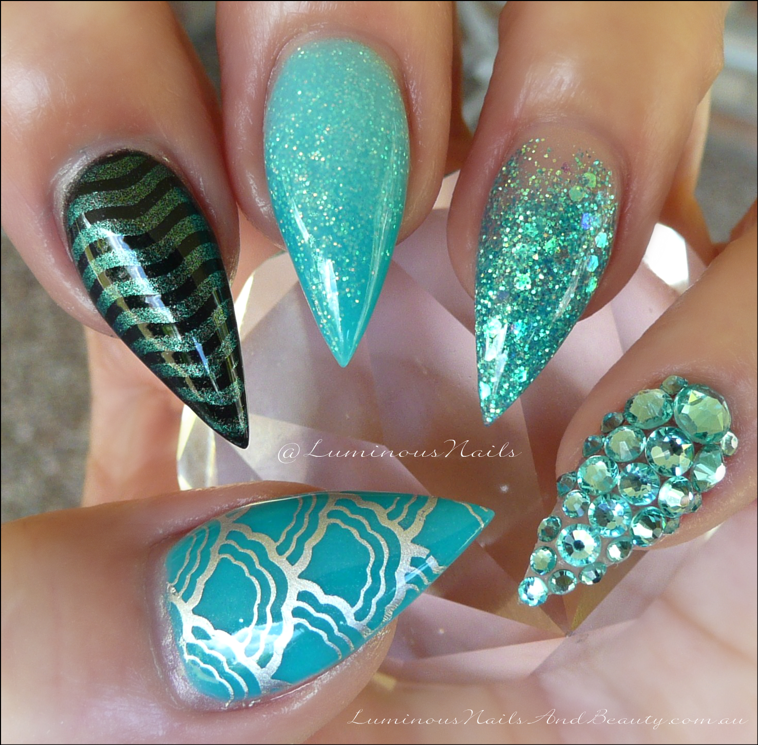 Luminous Nails: Turquoise & Teal, Inspired by the Beach..Acrylic Nails