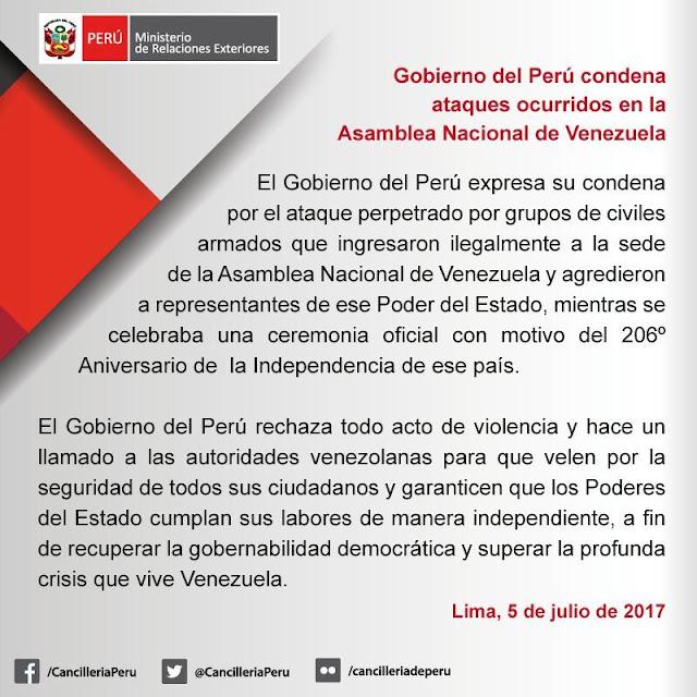 Gobierno de Perú se pronuncia ante los ataques a la Asamblea Nacional