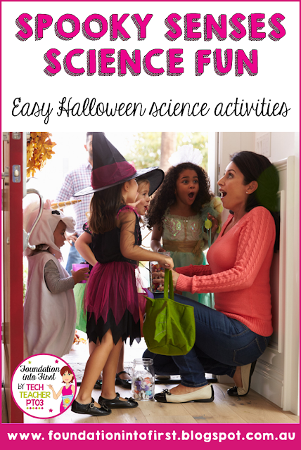 Halloween science fun that explores the senses! This simple Science activity will help your students describe objects using only some of their senses. #techteacherpto3 #foundationintofirst #halloween #science