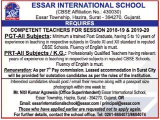 Essar International School Wanted PGT/PRT Teachers