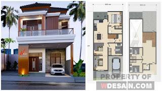 Desain Rumah 6x14 Meter 4 Kamar Tidur dan Balkon Depan