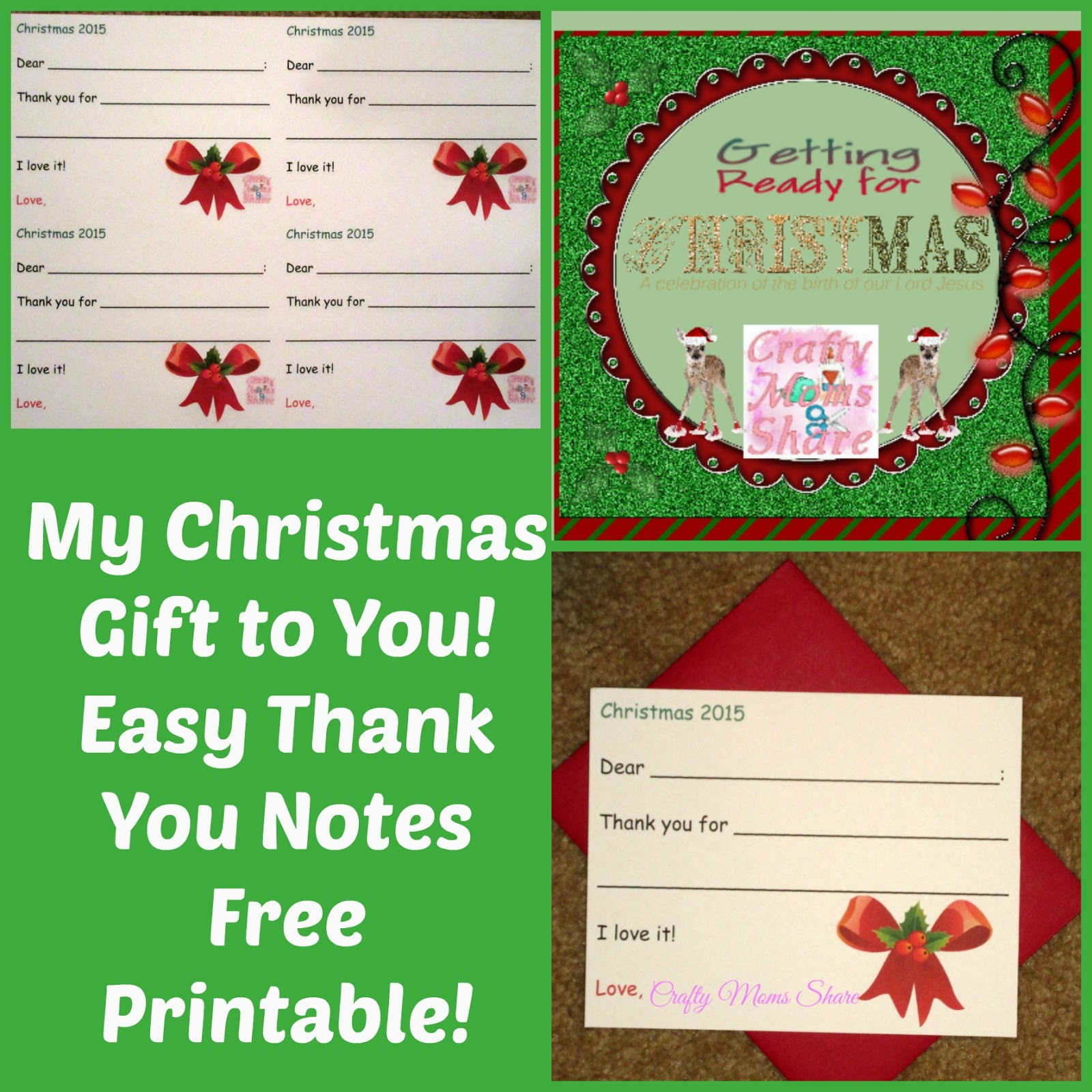 Crafty Moms Share: Easy Christmas Thank You Notes -- Free Printable