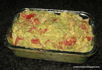 Guacamole: mashed avocado, tomatoes, onion, lemon juice