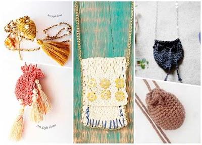 Como hacer un Colgante Bolsillo con crochet sintetico