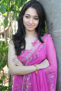 Tamanna is looking so cute and Gorgeous in pink saree