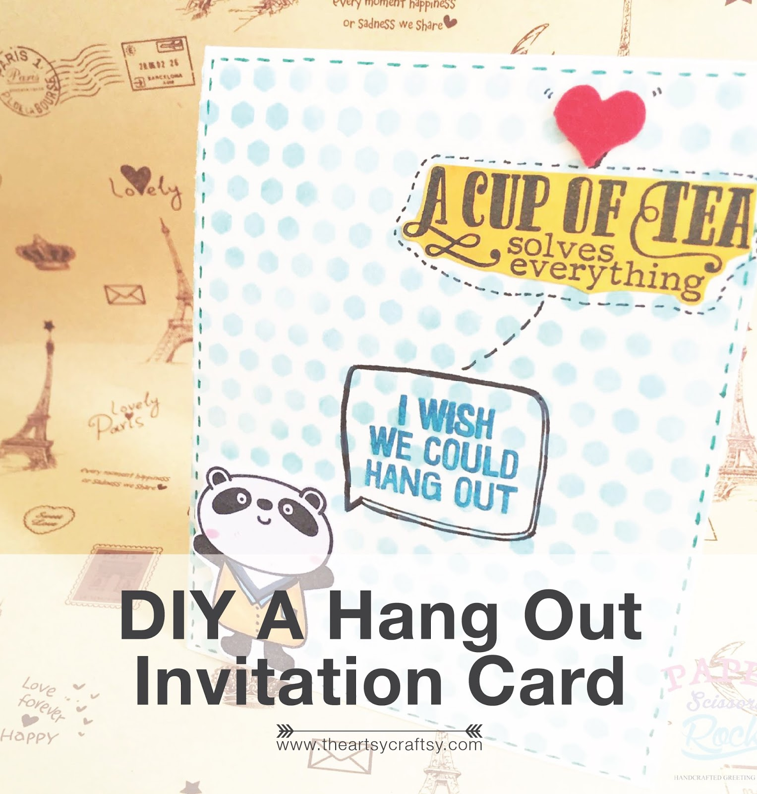 Diy make cute hang out invitation card easy tutorial stopboris Image collections