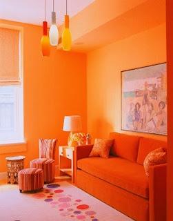 Sala muebles naranjas