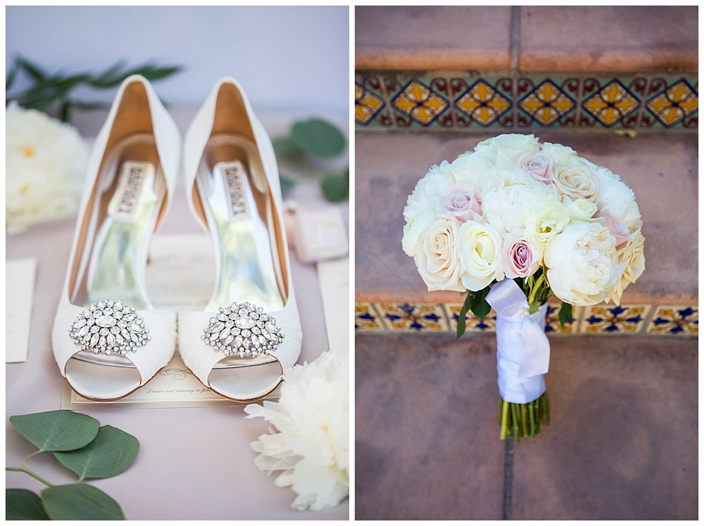 bride's bling shoes and white and pink rose wedding bouquet